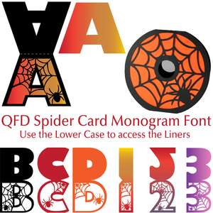 qfd spider card monogram font