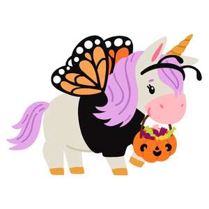 halloween unicorn in butterfly costume
