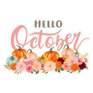 hello october pumpkin flowers sign