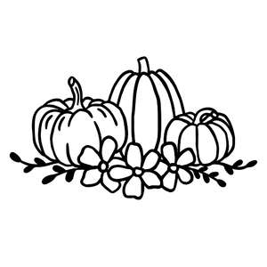 autumn pumpkins with flower wreath
