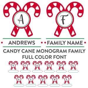candy cane family monogram full color font