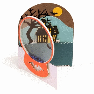 card snow globe haunted house