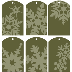 gift tags - snowflakes green