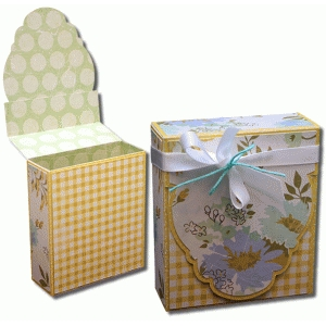 3d oval label flap over gift box