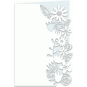 flower papercut lace edged 7x5 card