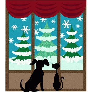 cat & dog at christmas window
