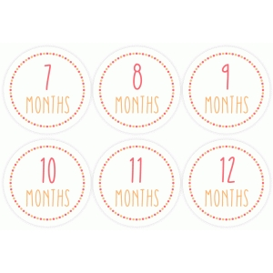 month stickers 7-12 pink