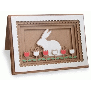 bunny in a tulip garden shadow box folded card