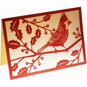 cardinal & holly card