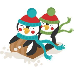 penguins sledding