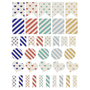hearts and stripes planning stickers
