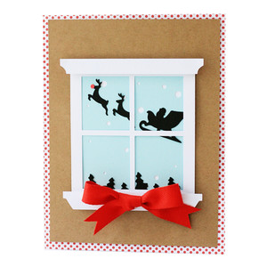 santa window pane card