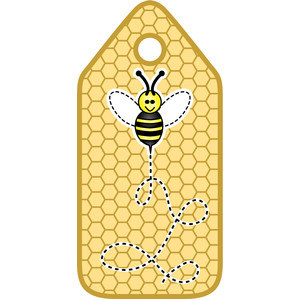 bee on honeycomb tag