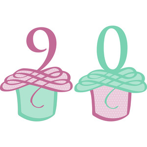 flourished cupcake numbers 9 and 0