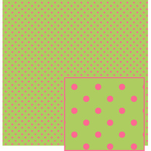 green with pink polka dot pattern