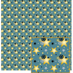 blue movie-themed pattern