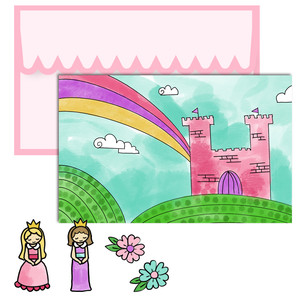 paper doll scene set - princess castle