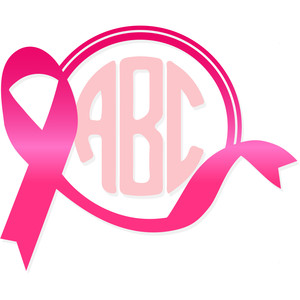 breast cancer ribbon monogram