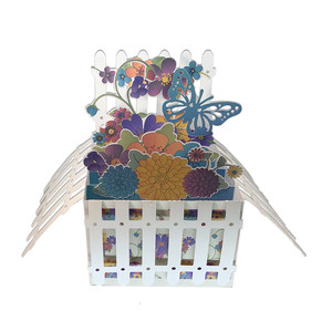 5x7 fenced garden pop up card in a box