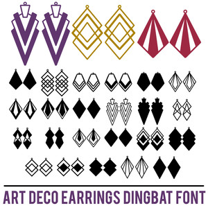 art deco earrings dingbat font