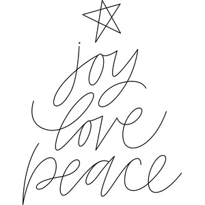 sketch joy love peace christmas tree