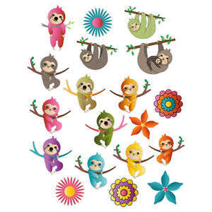 colorful sloths - stickers