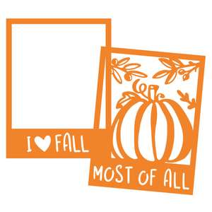 autumn photo frame with pumpkin