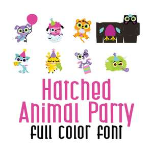 hatched animal party full color font