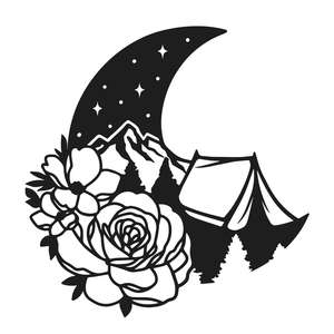 camping moon flowers