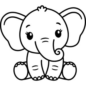 cute elephant outline