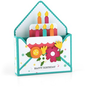 box card envelope birthday cake girl