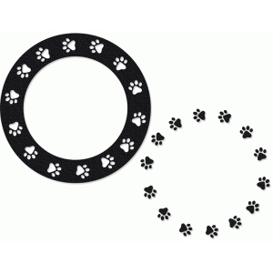 paw print frame and border round