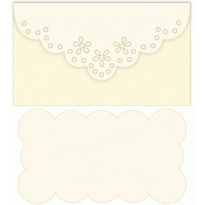 scallop floral envelope notecard set