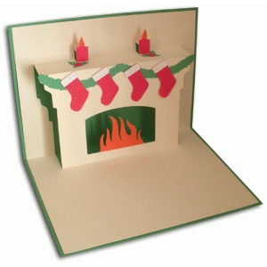 christmas fireplace pop-up card