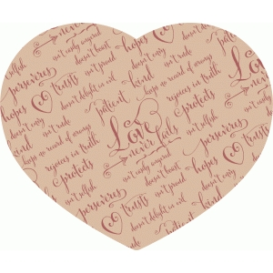 love never fails heart – parchment