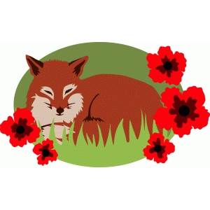 fox with poppies