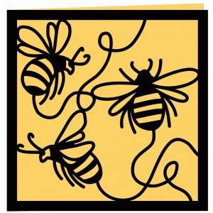 three bees papercut greetings card