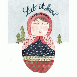 nesting doll holiday print and frame wall art