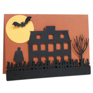 halloween house and zombie card