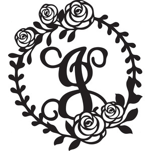 floral wreath alphabet j