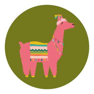 pink and green llama