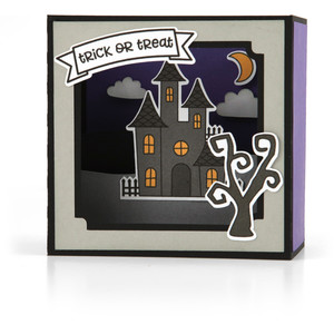 shadow box card scene - halloween house