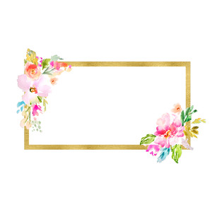 rectangle watercolor flower frame
