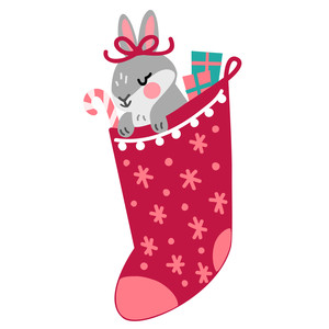 bunny in christmas stocking