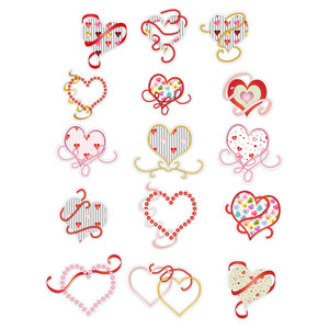 hearts, beads, ribbon planner stickers