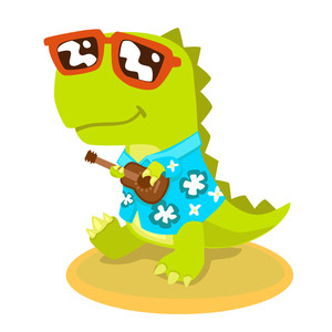 dinosaur in hawaiian shirt with ukulele