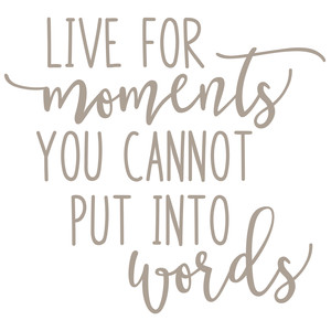 live for moments you cannot put into words