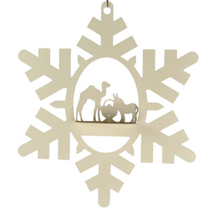camel and donkey nativity snowflake 3d oval hanging ornament