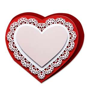 folded card with lace heart doily
