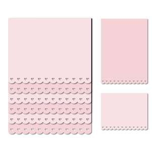 scalloped hearts note page card set